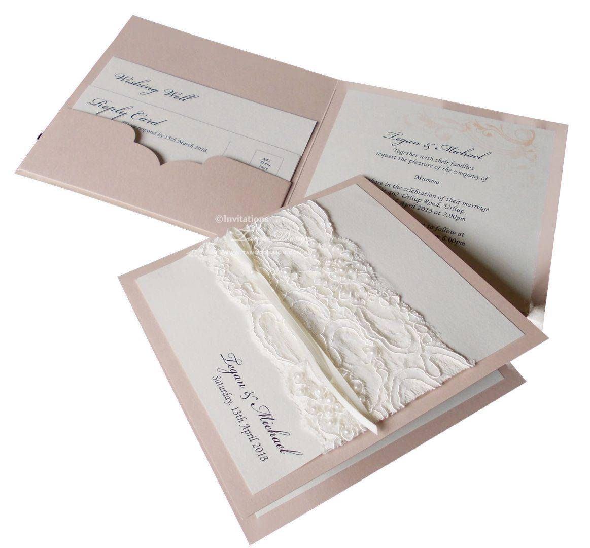LACE wedding invitations pocket fold. VINTAGE Lace invitation 25 ...