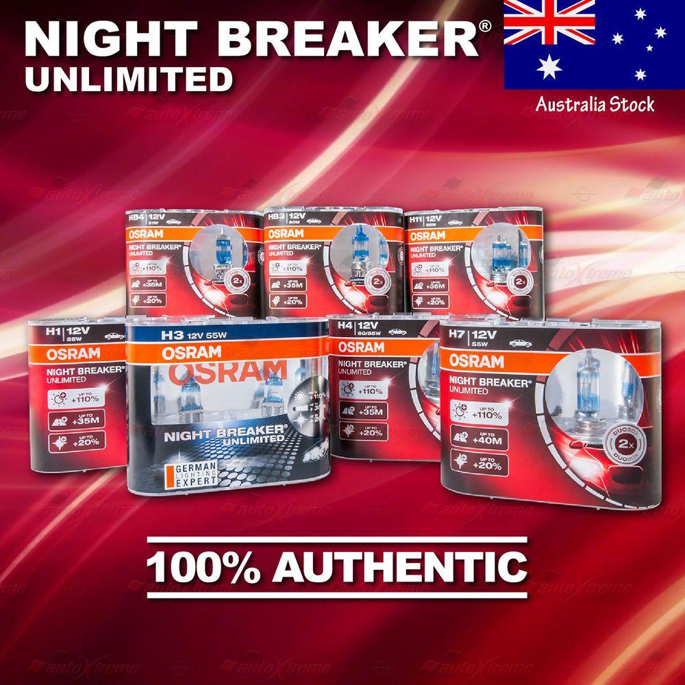 2x All Osram Night Breaker Unlimited Nbu Hcb 110 More Light Duobox Bulbs Lamps Autoxtreme Au Long Lights Light Beam Bulb