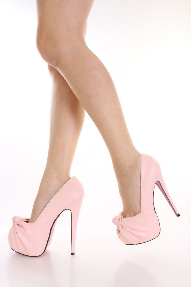 257dc304e885 Light Pink Knotted Keyhole Toe Pump Heels High Heels 2014