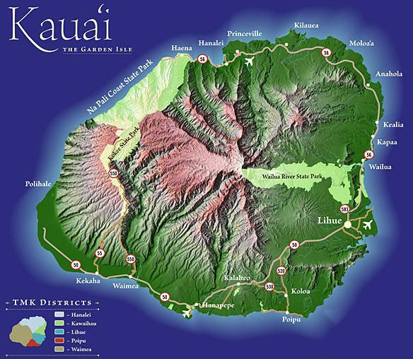 Kauai Kauai Map Map of the Kauai of Hawaii Beautiful Scenery - best of world map with alaska and hawaii