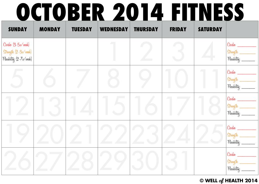 October 2014 Printable Fitness Calendar Well of Health