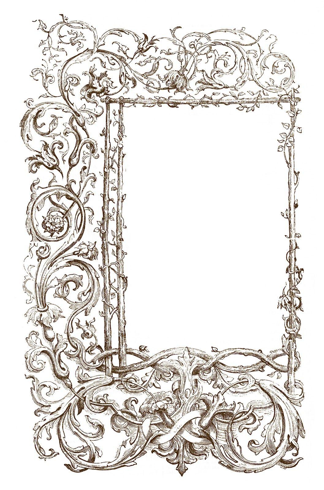 Vintage Clip Art - Faux Bois Frames with Scrolls | Pinterest ...