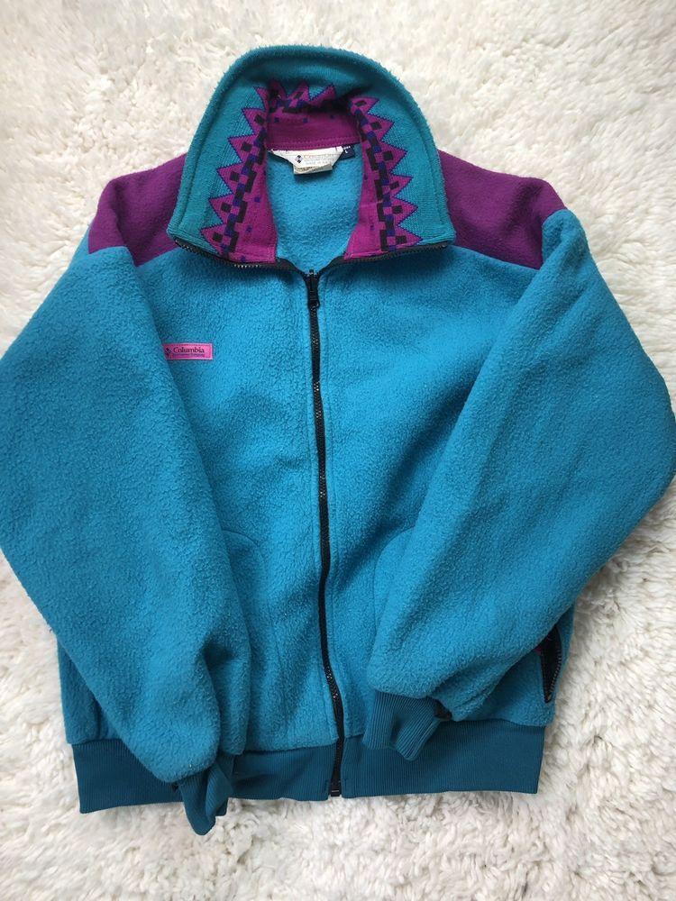 419e0830ed2729 VTG 90 s Womens COLUMBIA Full Zip Teal Purple Fleece Jacket Liner L USA  MADE EUC  fashion  clothing  shoes  accessories  womensclothing   coatsjacketsvests ...