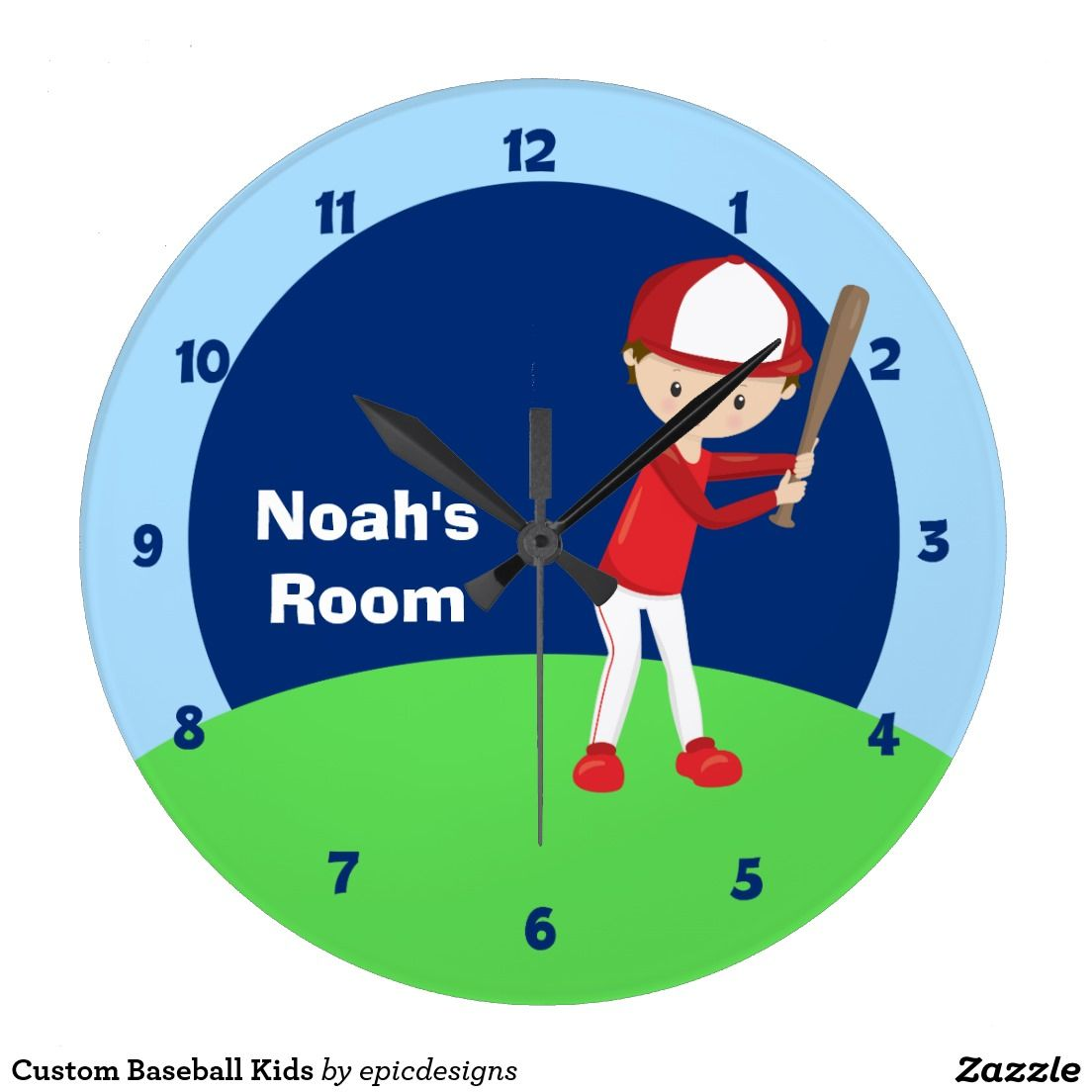 Custom Baseball Kids Large Clock Pinterest Sports Room Decor