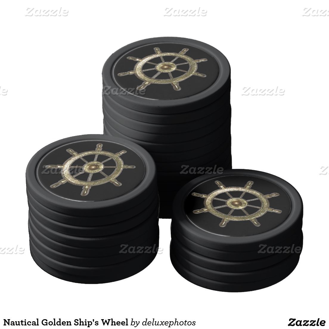 Nautical Golden Ship's Wheel Poker Chips