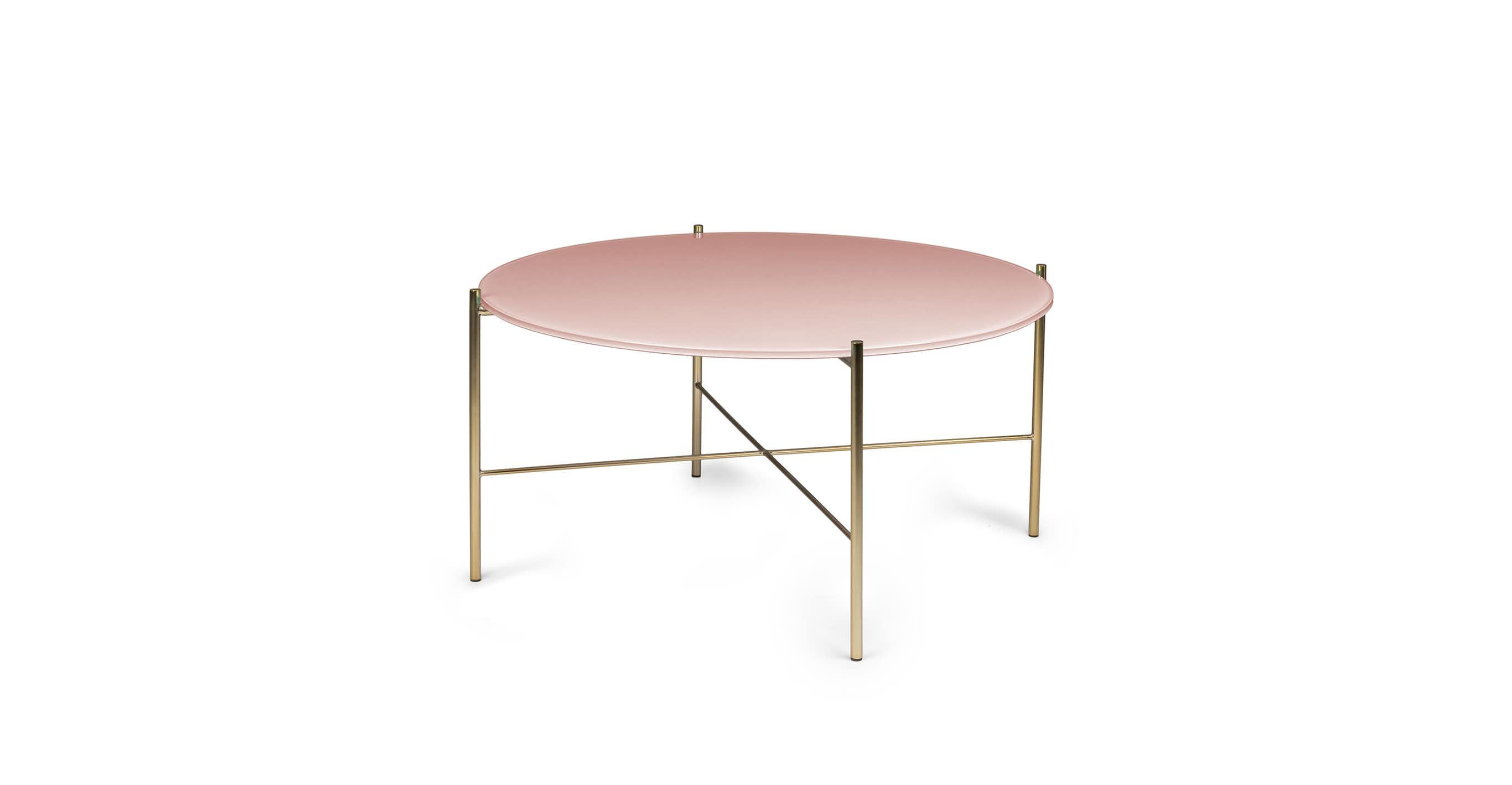 Silicus Pink Round Coffee Table Coffee Table Mid Century Modern Coffee Table Glass Top Coffee Table