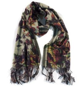 Scarf wool cashmere silk cotton printed flowers ErmesOutfit.