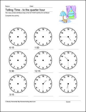 Math Worksheets - Telling Time to the Quarter Hour: Mixed Practice - Worksheet 4