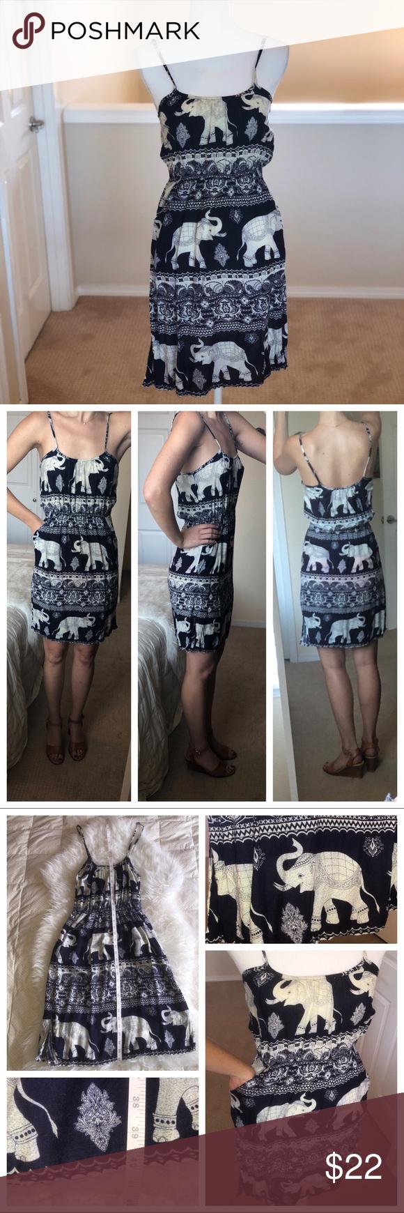 Elephant Print Dress From Thailand Size Medium Elephant Print Dress Elephant Print Clothes Design
