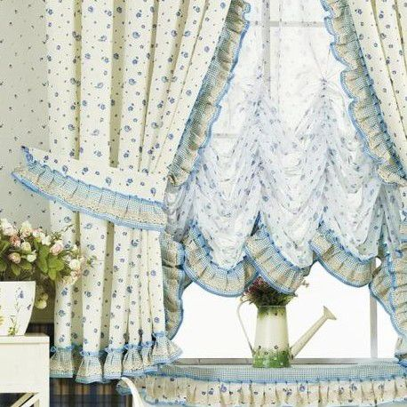 Country Style Floral Printing Lace Half Curtains in White (Two Panels)