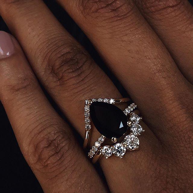 Sweet Melissa Black Onyx Ring -  Marrow Fine Jewelry | Black Onyx Wedding Ring | stacking bands | black gemstone jewelry  - #black #diyjewelrytutorial #finejewelry #melissa #onyx #Ring #sweet