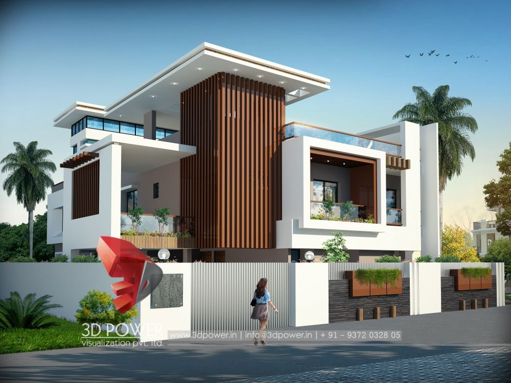 3d power provides quality bungalow 3d rendering modern for Row house front elevation