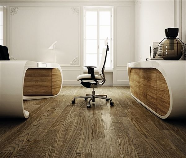 Ultra Modern Goggle Office Desks Rounded Shapes Design Ideas