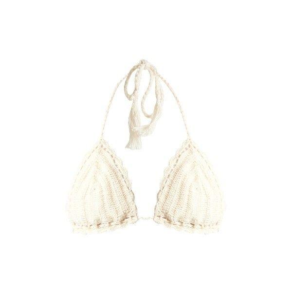Anna Kosturova Crochet triangle bikini top (£58) ❤ liked on Polyvore featuring swimwear, bikinis, bikini tops, cream, crochet bikini, triangle bikini top, triangle bikinis, triangle swimwear and bohemian bikinis