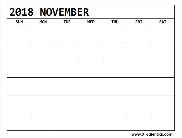 Blank November 2018 Calendar Excel Available November 2018