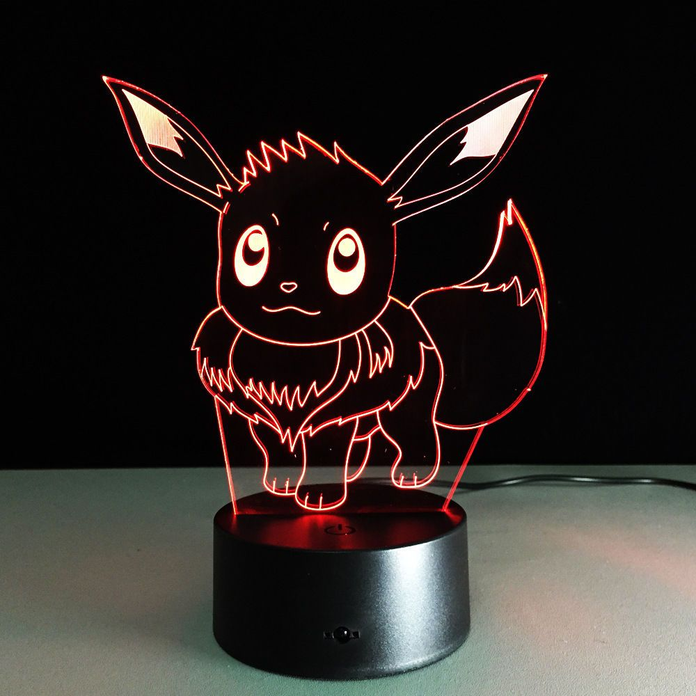 Anime Pokemon Eevee Eievui Night Light Decor 3d Acrylic Led Table Desk Lamp Gift Pokemon Room Pokemon 3d Night Light