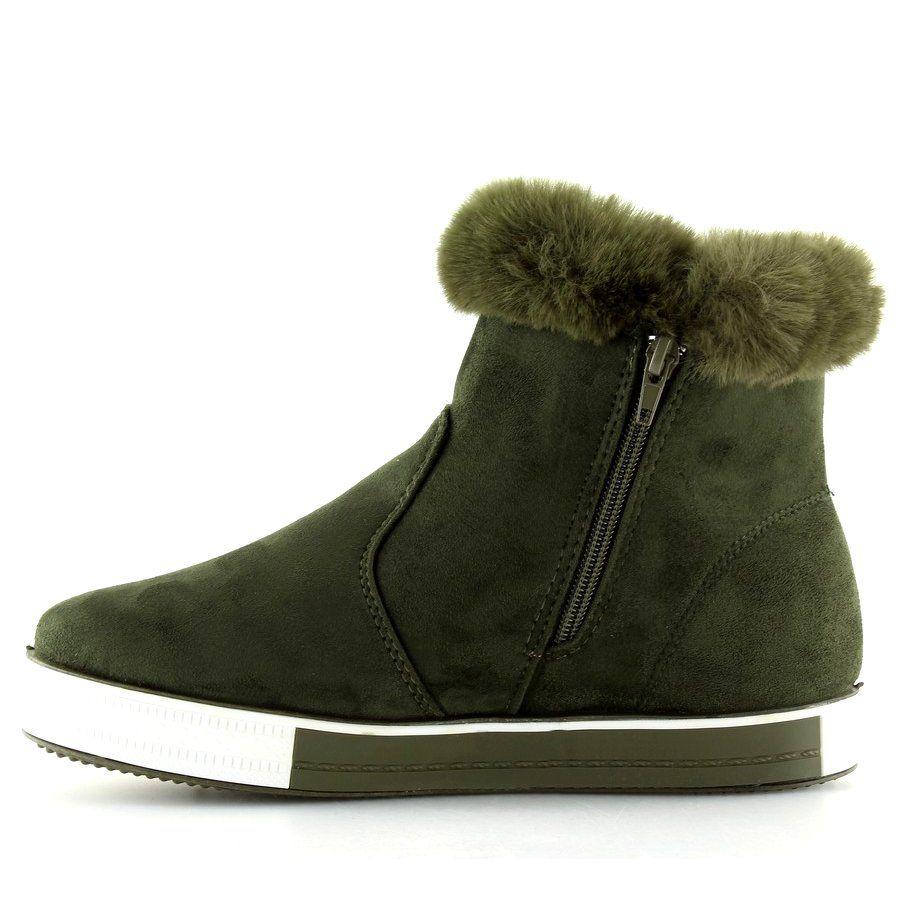 Trampki Damskie Butymodne Trampki Za Kostke Ocieplane Zielone Nb252p Army Green Butymodne Boots Ugg Boots Shoes