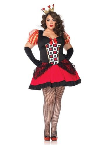 plus size sexy red queen costume comes with crown $48.99