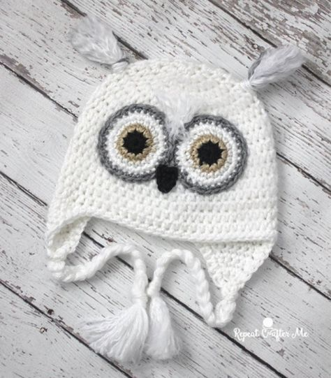 Download Snowy Owl Hat Crochet Pattern Free Haken Pinterest