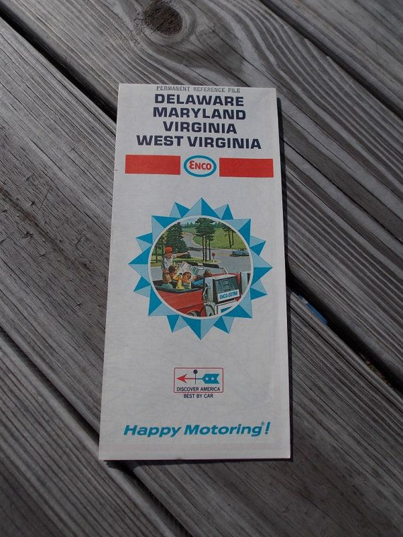 Vintage Road Map From Esso Of Maryland Delaware Virginia And West - Vintage road maps for sale
