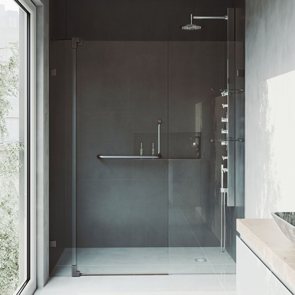 Pirouette 54 To 60 Inch X 72 Inch Frameless Pivot Shower Door In Antique Rubbed Bronze With Clear Glass And Handle Shower Doors Frameless Shower Doors Tub Shower Doors