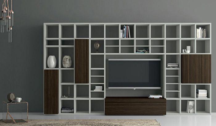 Nuvola wandkast op maat met tv boekenkast pinterest for Tv wandkast