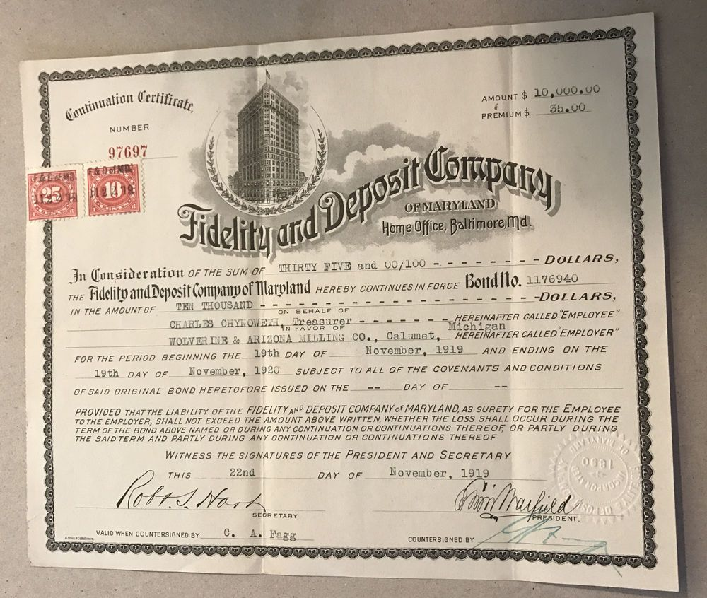 1919 Fidelity and Deposit Company w/2 Documentary Cents Stamps ...
