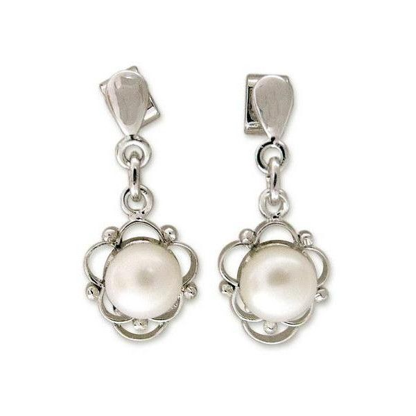 NOVICA Pearl flower earrings (1 295 UAH) ❤ liked on Polyvore featuring jewelry, earrings, clothing & accessories, dangle, pearl, rose flower jewelry, novica jewelry, dangle earrings, rose earrings and novica earrings
