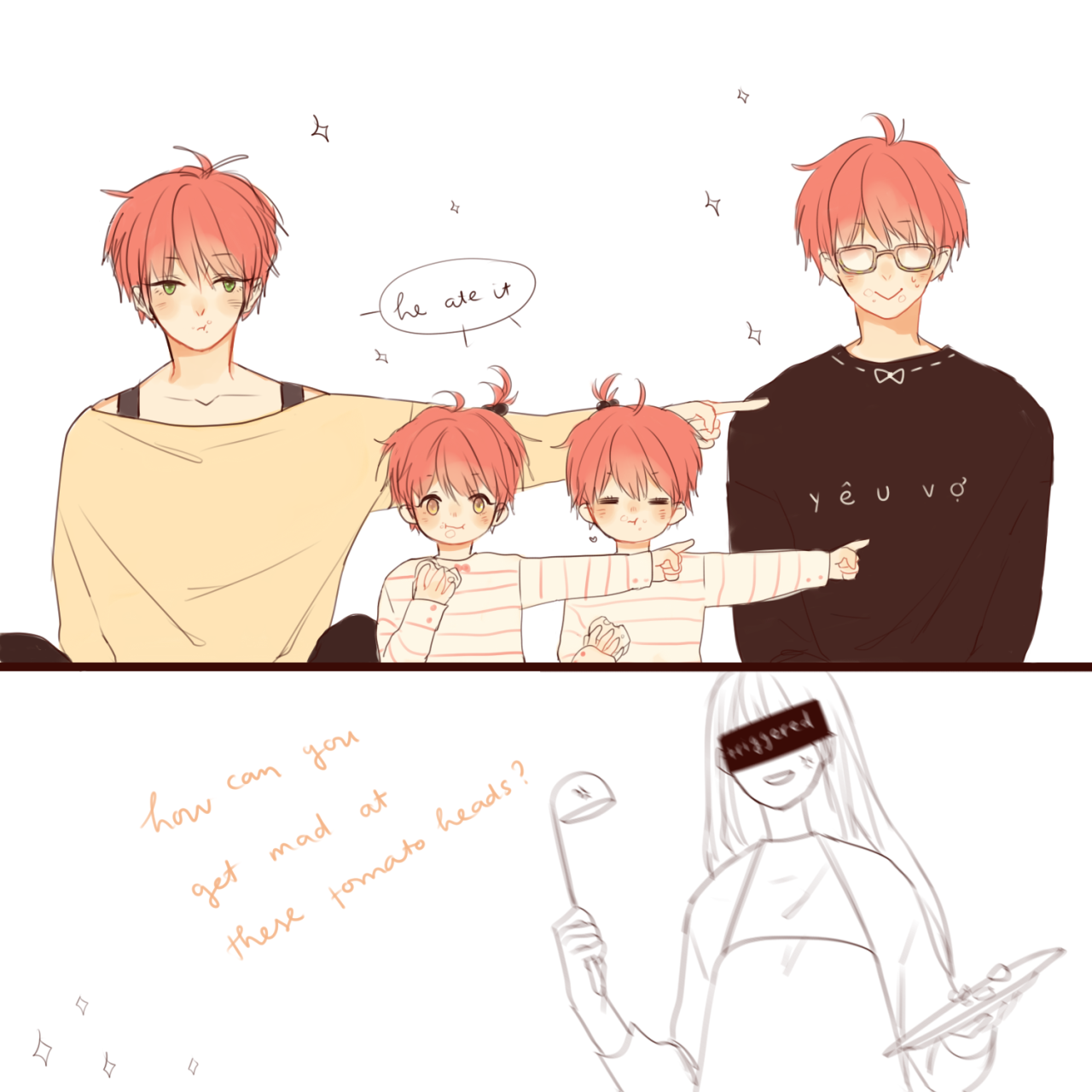 If Saeyoung and MC have kids, Saeran might be baby sitter ...