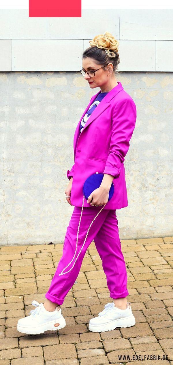 Was passt am besten zu Violett? Welche Farben kann ich mit Violett kombinieren? Ich zeig' Euch die besten Farb-Kombinationen und verschiedene Outfits mit Violett! #lila#violett#streetstyle#mode#anzugu#powersuit