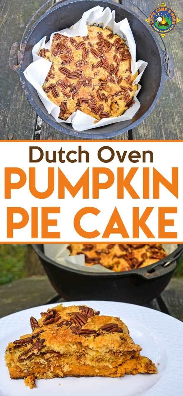 Pumpkin Pie Cake Recipe - Do you love everything pumpkin? Are you looking for a great camping dessert? Create this Pumpkin Pie Cake Recipe in the Dutch Oven. It's the perfect fall camping recipe. #pumpkinpie #DutchOven #camping