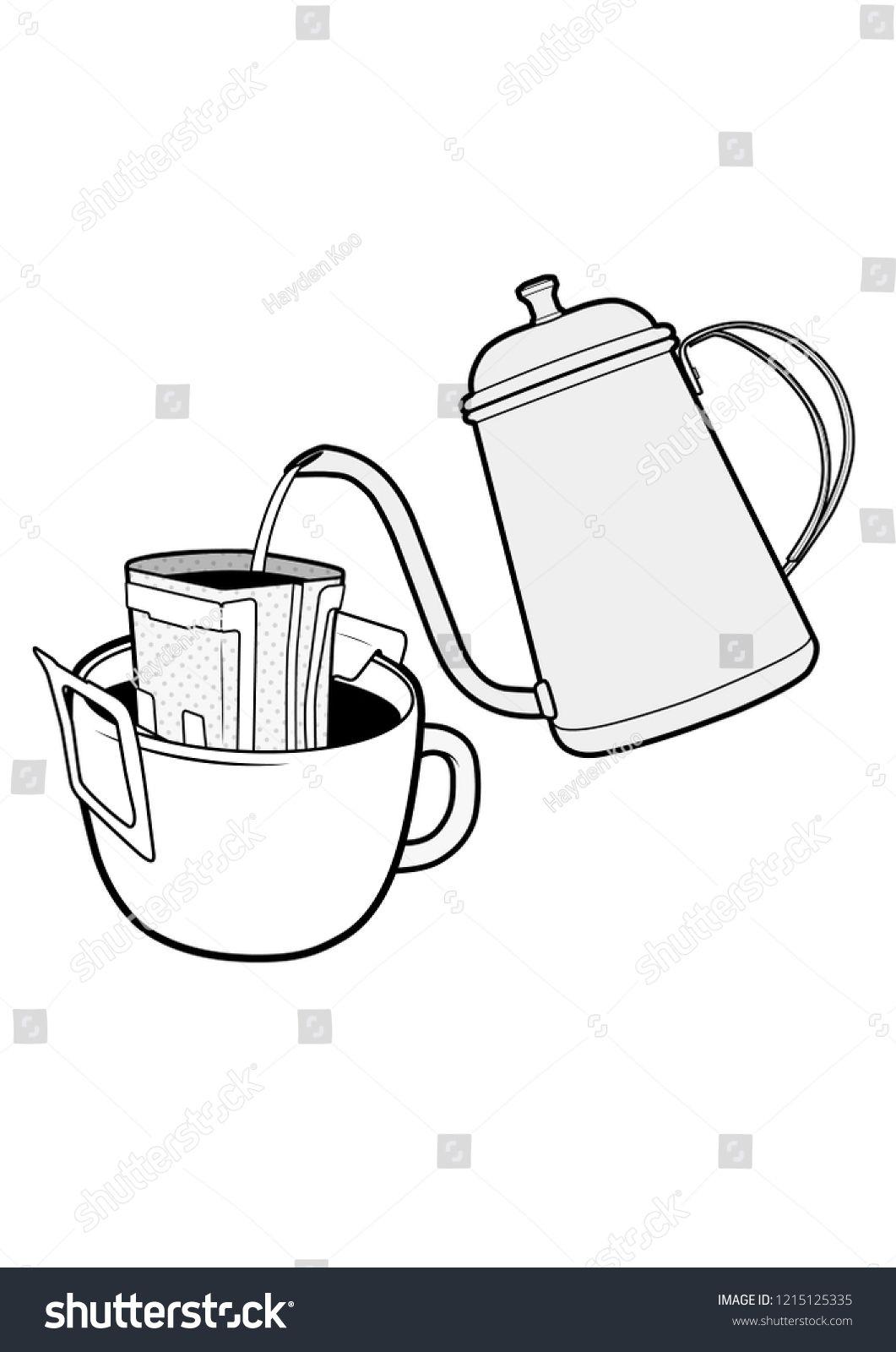 Drip bag coffee cup Illustrator vector template Kopi