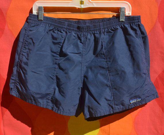 9638c1d10d4fc4 vintage 80s PATAGONIA baggies shorts bathing suit swim trunks navy blue  Medium Large beach surf preppy by skippyhaha