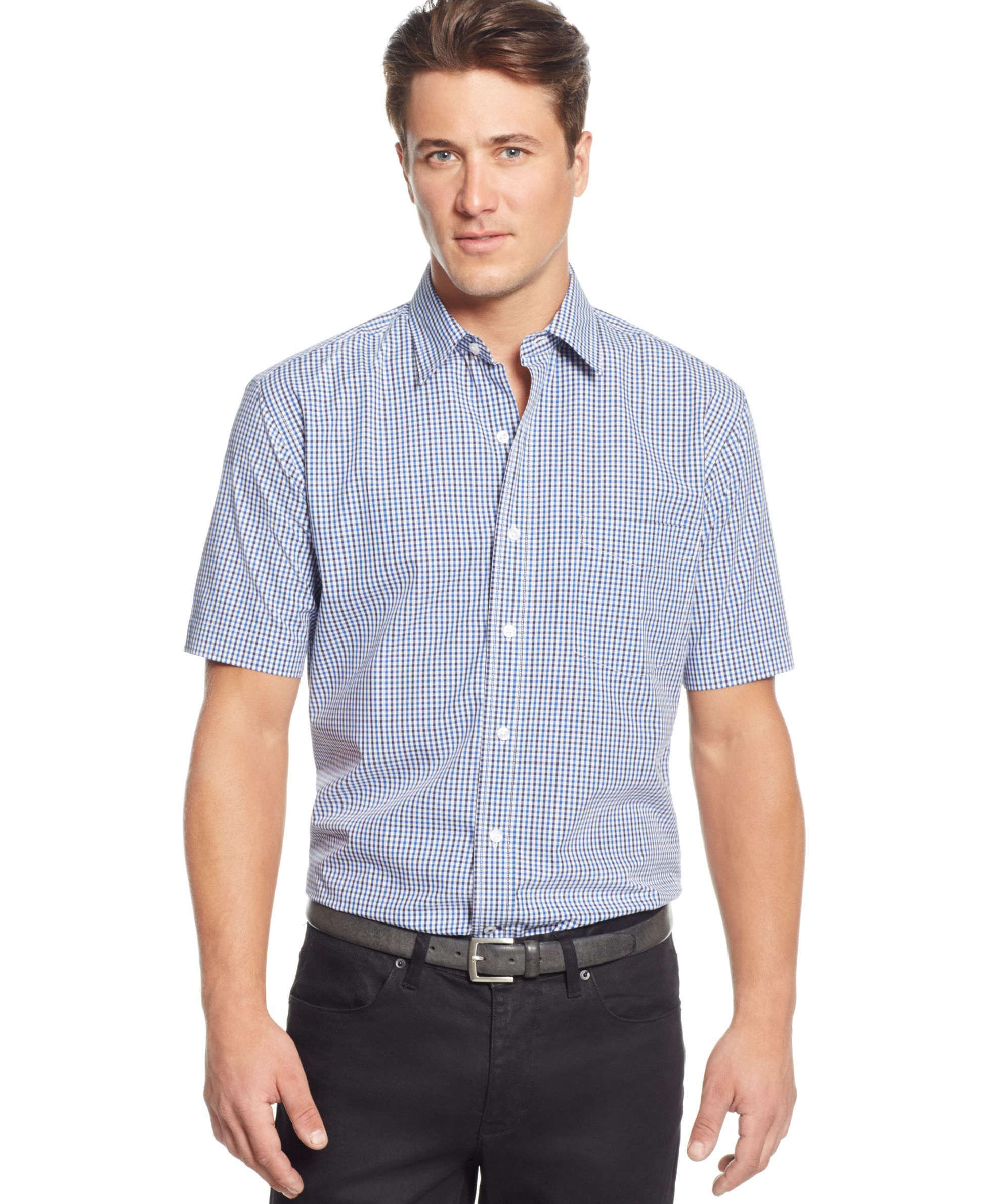 Club Room Big And Tall Gingham Short Sleeve Shirt Only At Macys Products Pinterest Shirt