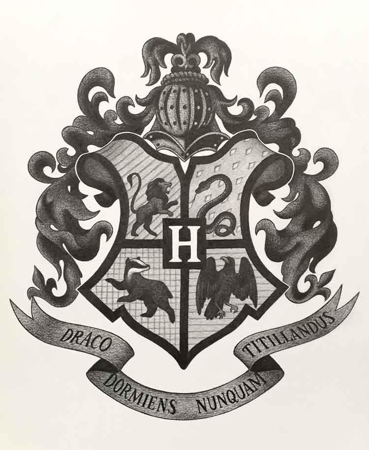 Hogwarts Logo Drawing : hogwarts, drawing, Copic, Inspire, Harry, Potter, Drawings,, Hogwarts, Crest,, Tattoo