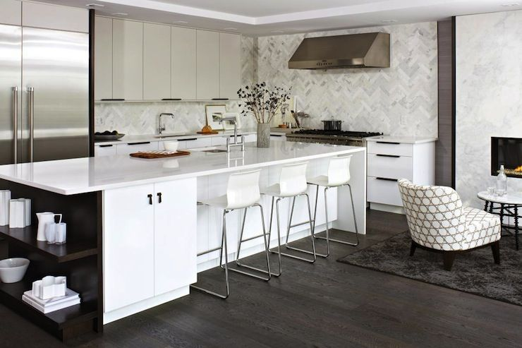 Kitchens White Modern Counter Stools Floor To Ceiling Glossy White Lacquer Kitchen Cabine White Modern Kitchen Kitchen Inspiration Modern Ikea Kitchen Design
