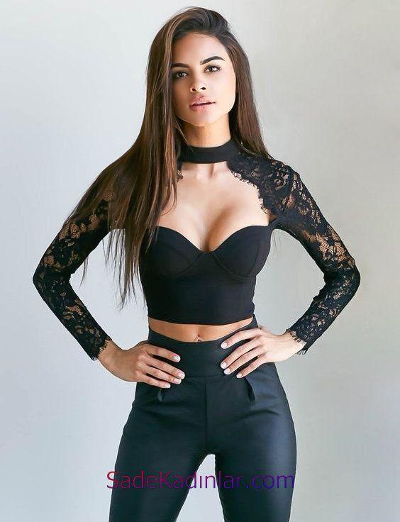 Büstiyer Bluz Modelleri Siyah Göğüs Dekolteli Uzun Kollu Dantelli