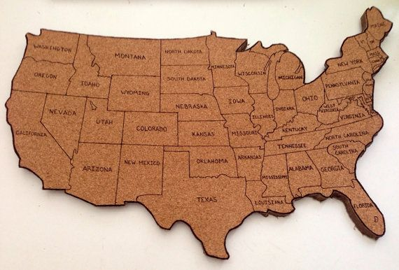 united states map cork board United States Corkboard Map With State Names Usa Cork Map Hand