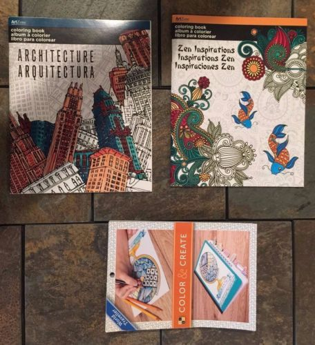 "Lot Of 3 Brand New High Quality Architecture, World Traveller, and Animal/Floral themed Adult Coloring Books.    1 book ""architecture"" themed (city skylines, villages, architectural ornament, etc.),   1 book is  ""zen inspirations"" themed (intricate patterns with geometry, floral, paisleys, etc.), and 1 book is ""world traveller"" themed (city skylines, villages, maps, etc.)"