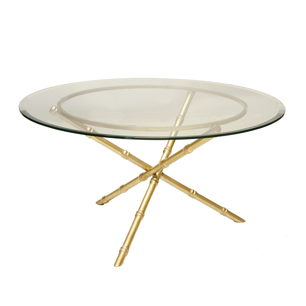 AVERY G BASE   GOLD LEAFED BAMBOO COFFEE TABLE BASE ONLY. GLASS PICTURED IS  36