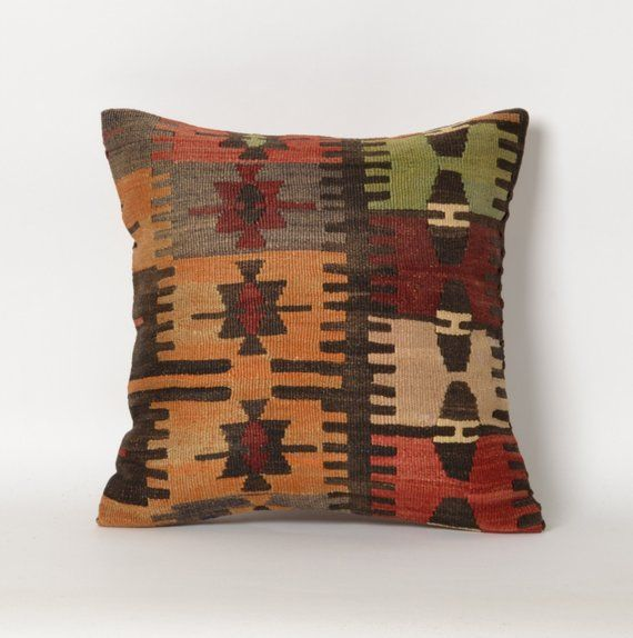 Set of 2 Flame Red Southwestern Tapestry Throw Pillows 23 Inch