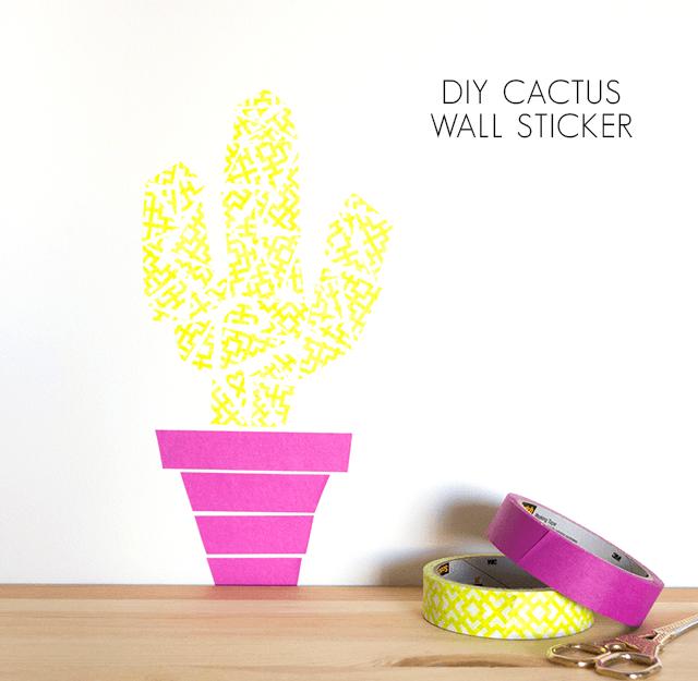 Diy: Washi tape Cactus Wall Art   Craft Tutorials   Pinterest ...