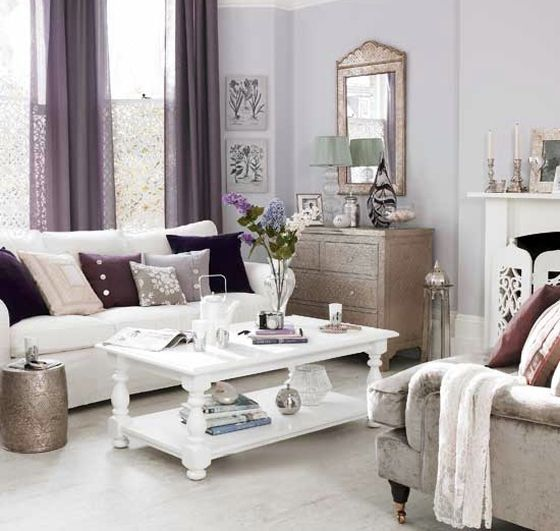 Chic Living Room With White Lavender Plum Gray And Silver