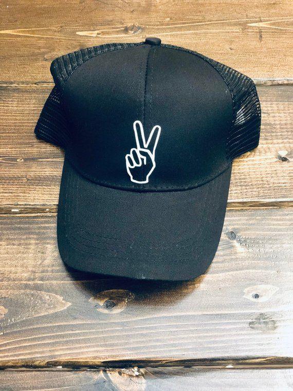 Bye Messy Bun Baseball Hats, Peace Sign Ponytail Baseball Hat, Ponytail Hat, Messy Bun Hat, Ponytail #messybunhat