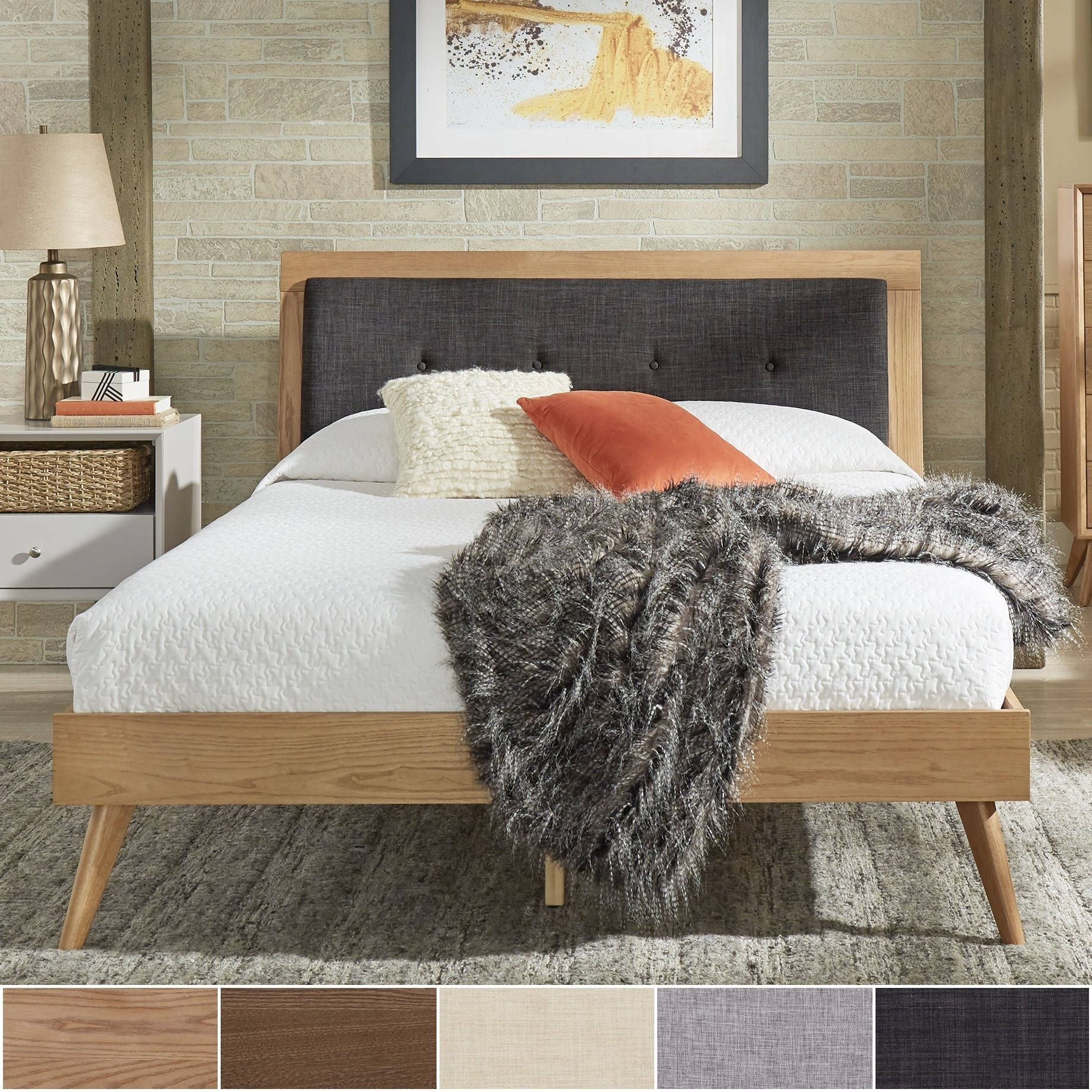 Sylvia Queen Size Mid-Century Tufted Linen and Wood Bed by iNSPIRE Q Modern  (Dark Walnut - Grey Linen), Brown