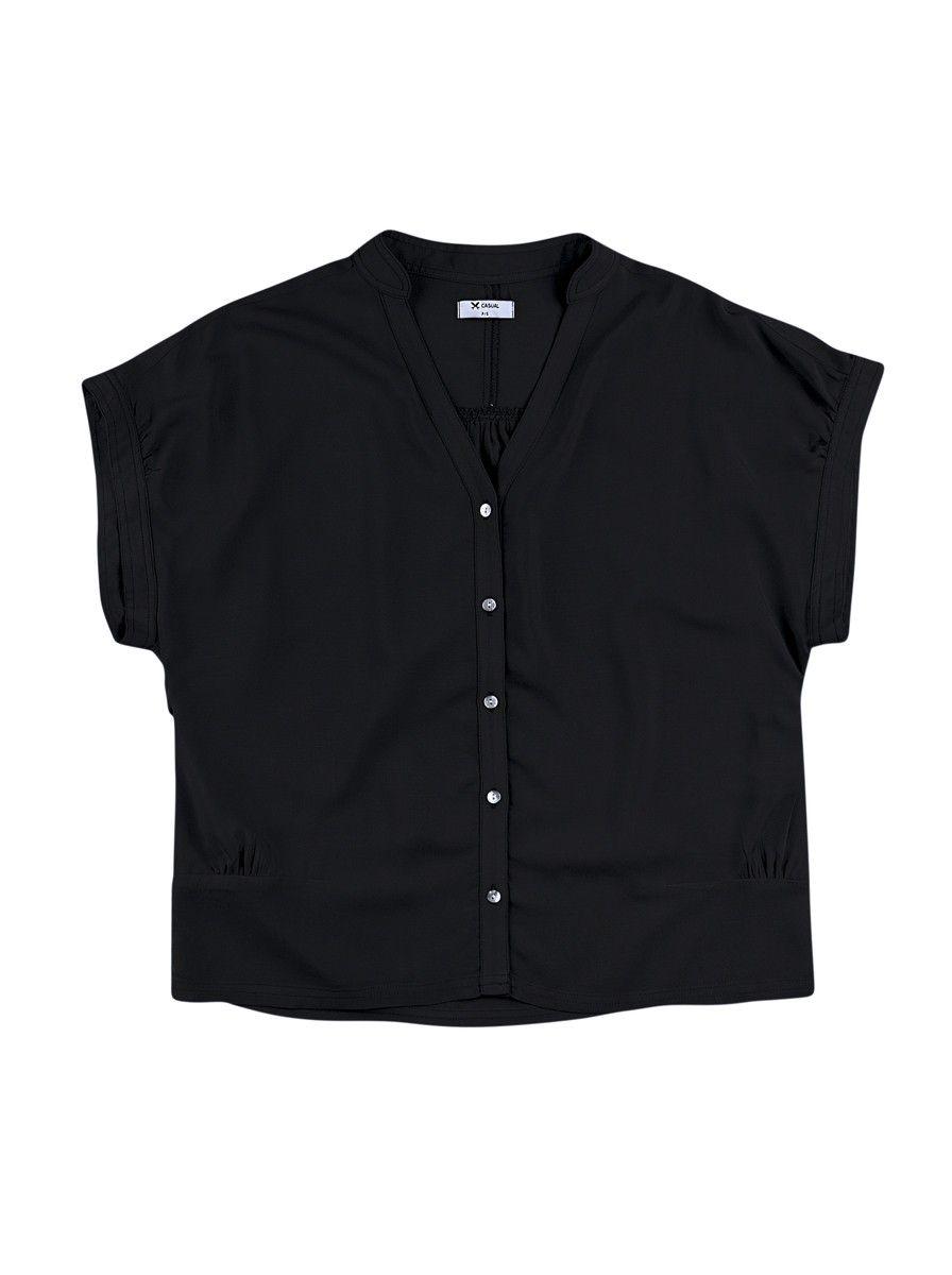 bc445fd1cc Camisa Feminina Adulta Em Viscose Com Gola Padre