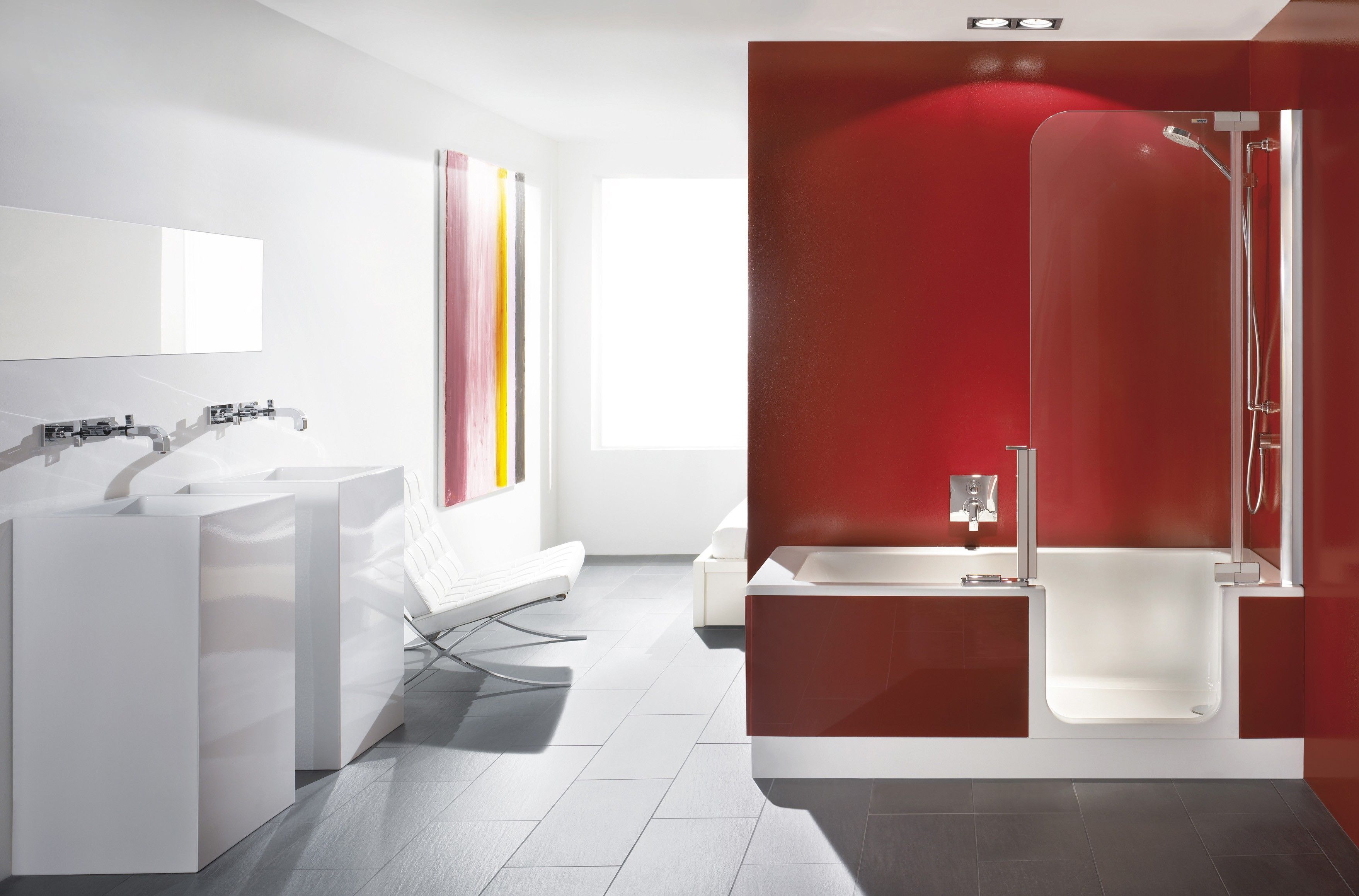 Beautiful White And Red Tone Walk In Shower With Tub Having Acrylic Door Panel  Combined With Red