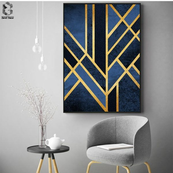 Classic Linear Geometric Canvas Painting Wall Art Posters and Prints Nordic Marble Wall Picture for Living Room Home Decor images