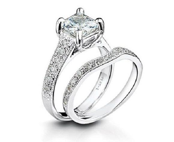 twin diamond rings set 2 carat solitaire diamond platinum engagement ring for her - Platinum Wedding Rings For Her