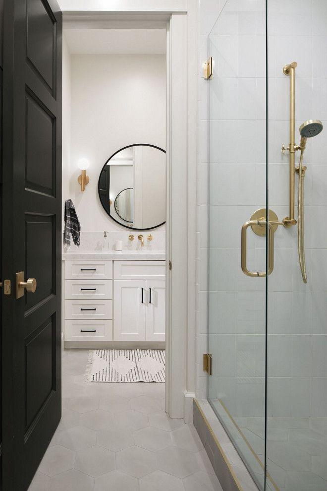 Modern Farmhouse Jack And Jill Bathroom Isn T This Modern Farmhouse Jack Jill Bathroom Full Of Great Ideas I Love The Mix Of Gold And Black An Modern White Bathroom Bathroom